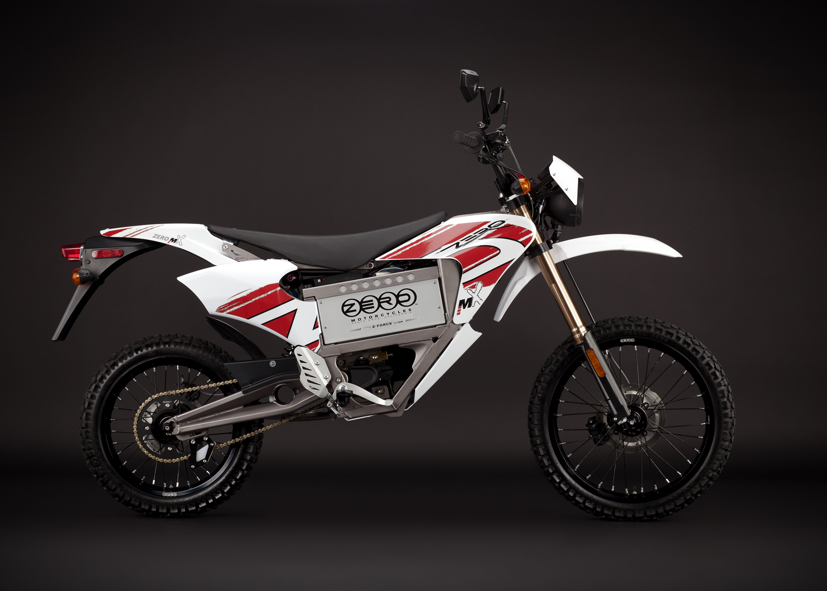 '.2011 Zero MX Electric Motorcycle: Right Profile, Street Legal Model.'