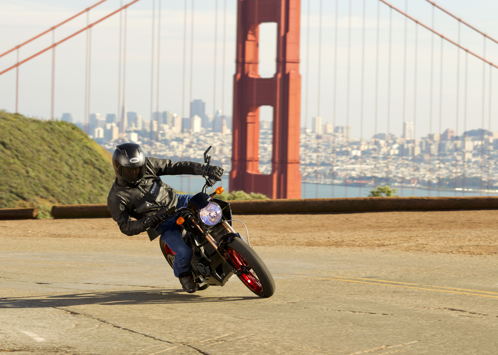 '.2011 Zero S Electric Motorcycle: Sideways Turn by the Golden Gate Bridge.'