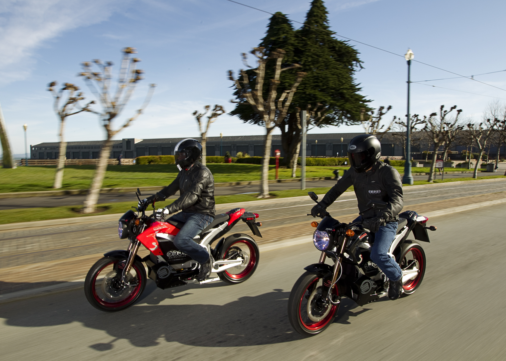 '.2011 Zero S Electric Motorcycle: Pair, Cruising in the City.'