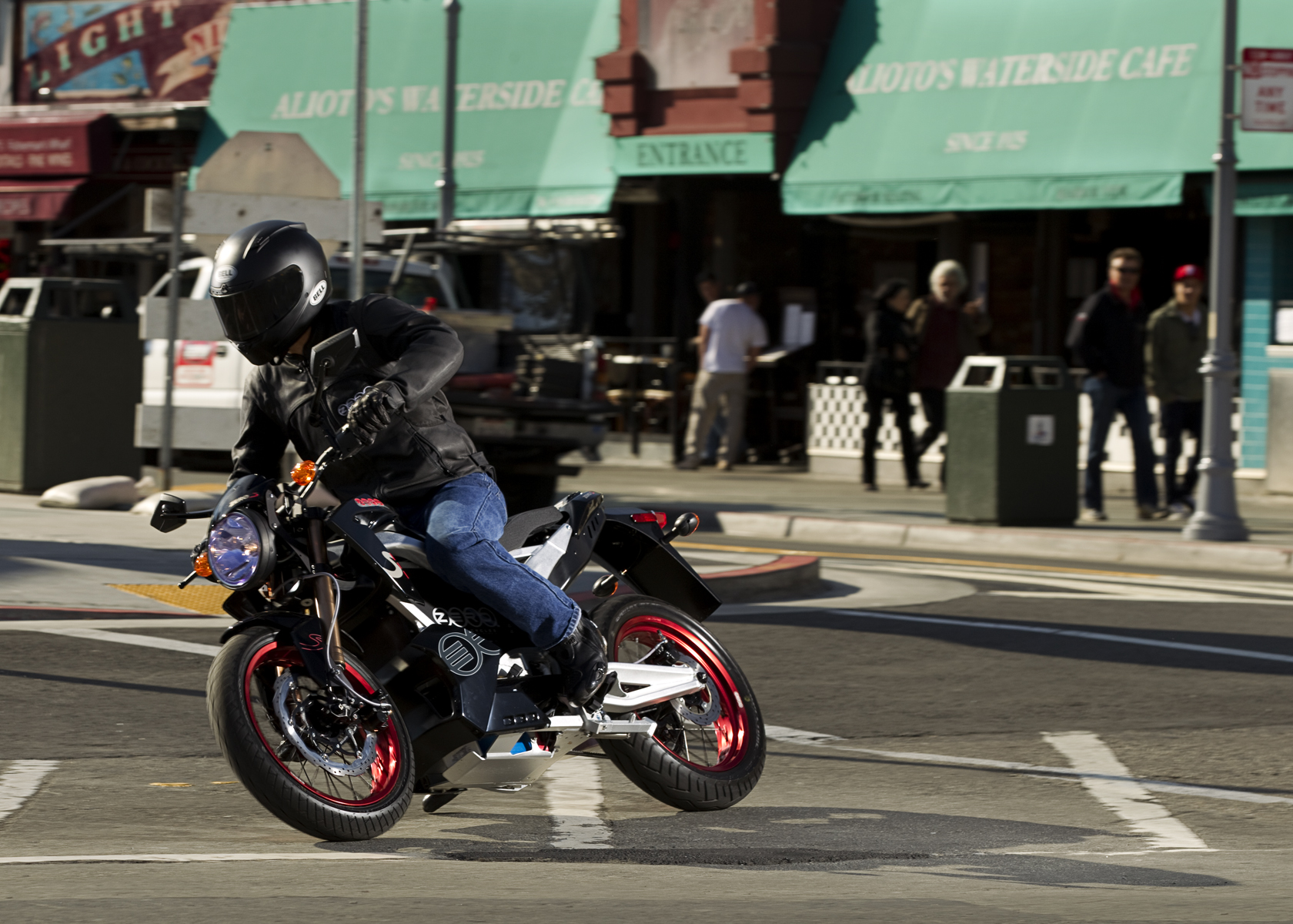 '.2011 Zero S Electric Motorcycle: Sideways Turn, Fisherman's Wharf.'