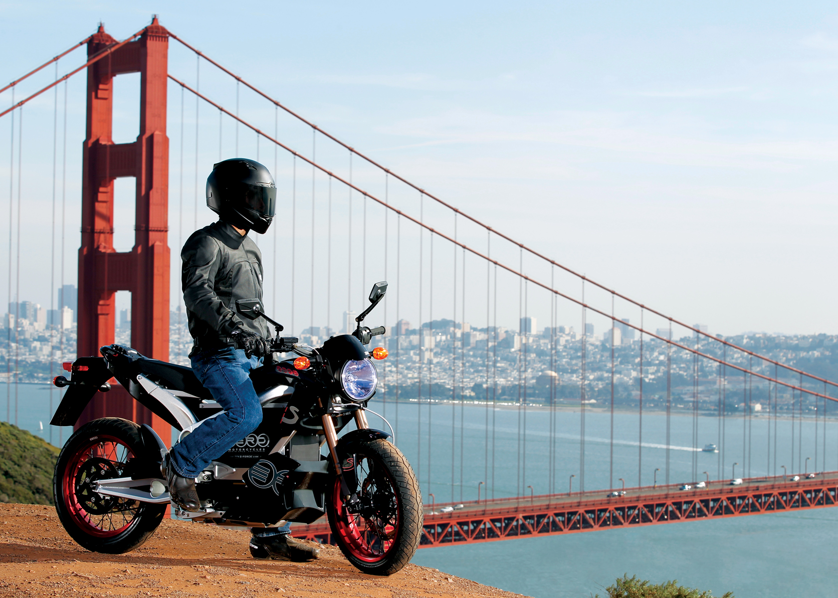 '.2011 Zero S Electric Motorcycle: Profile, Golden Gate Bridge.'