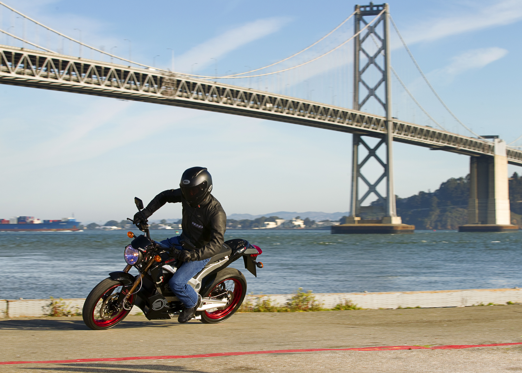 '.2011 Zero S Electric Motorcycle: Lean Left, Waterfront.'