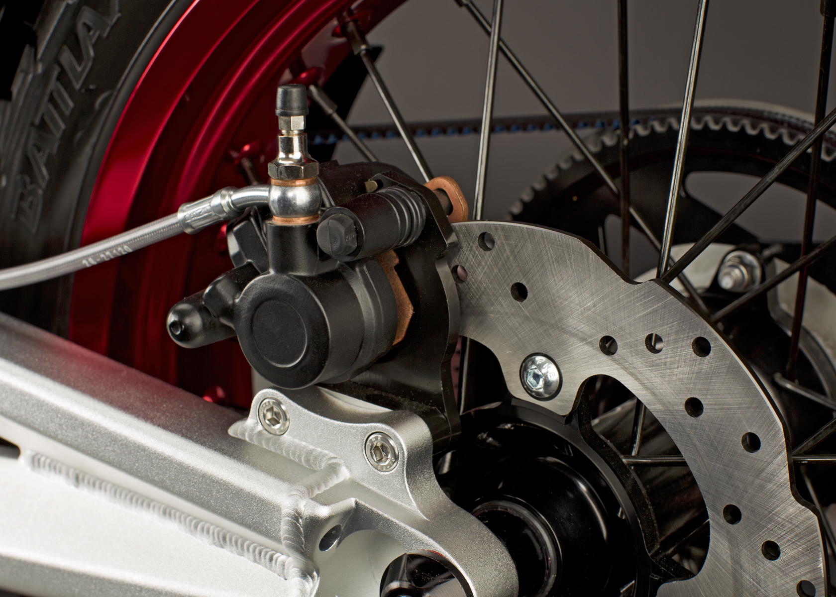 '.2011 Zero S Electric Motorcycle: Back Brake.'