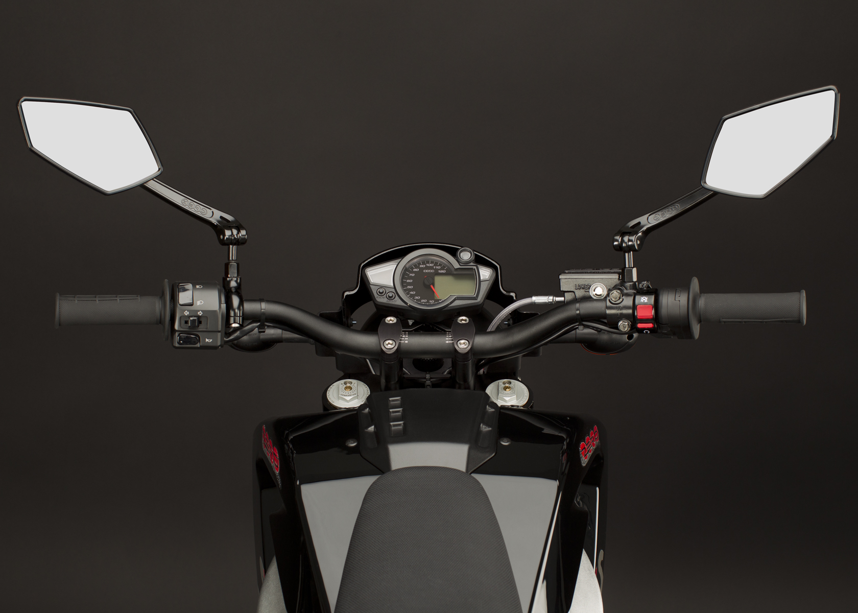'.2011 Zero S Electric Motorcycle: Mirrors and Controls.'
