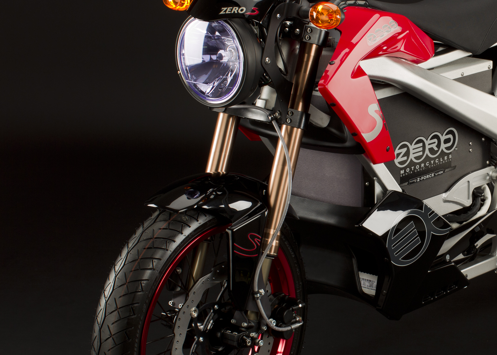 '.2011 Zero S Electric Motorcycle: Front Fork.'