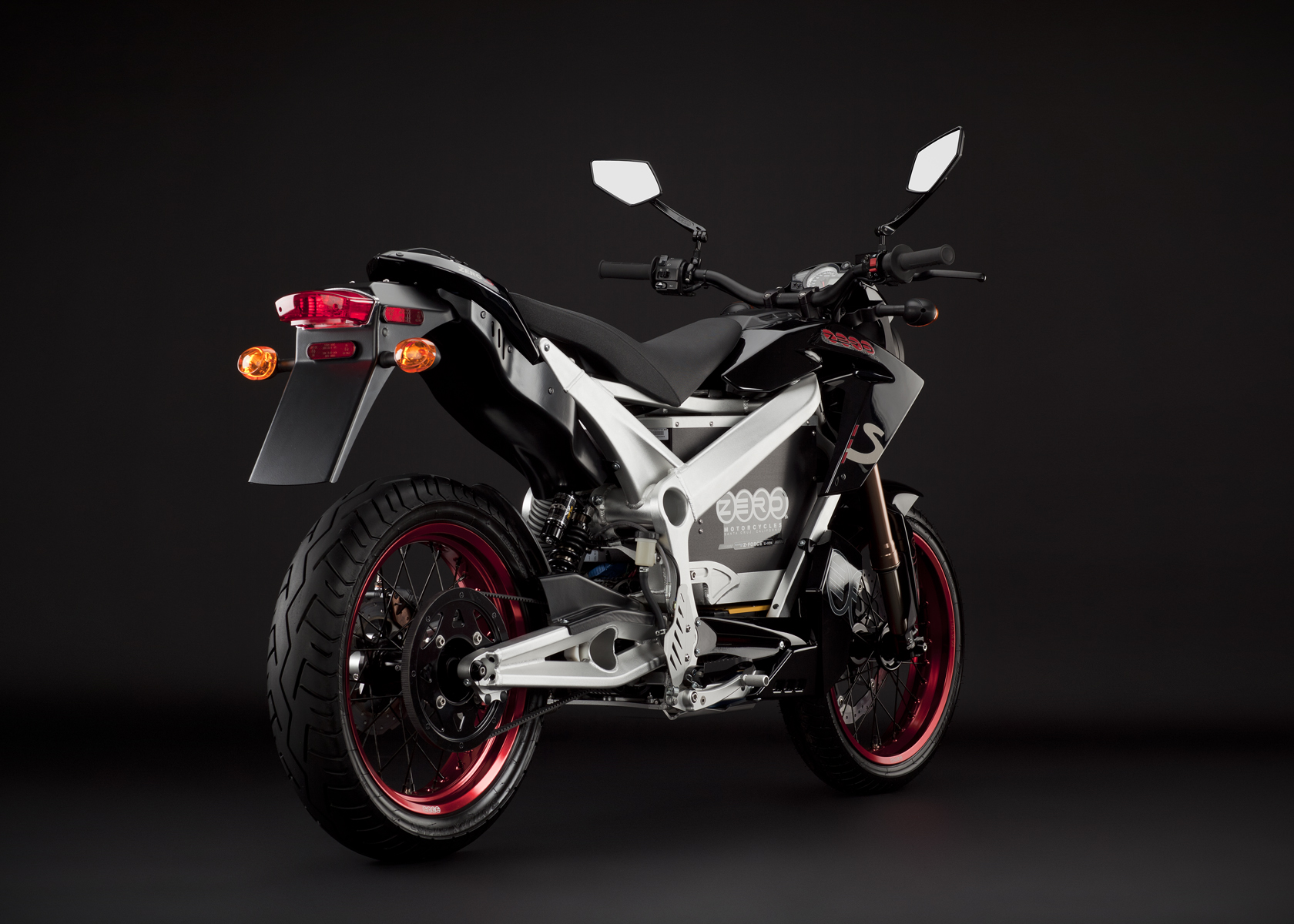 '.2011 Zero S Electric Motorcycle: Black Angle, Rear View.'
