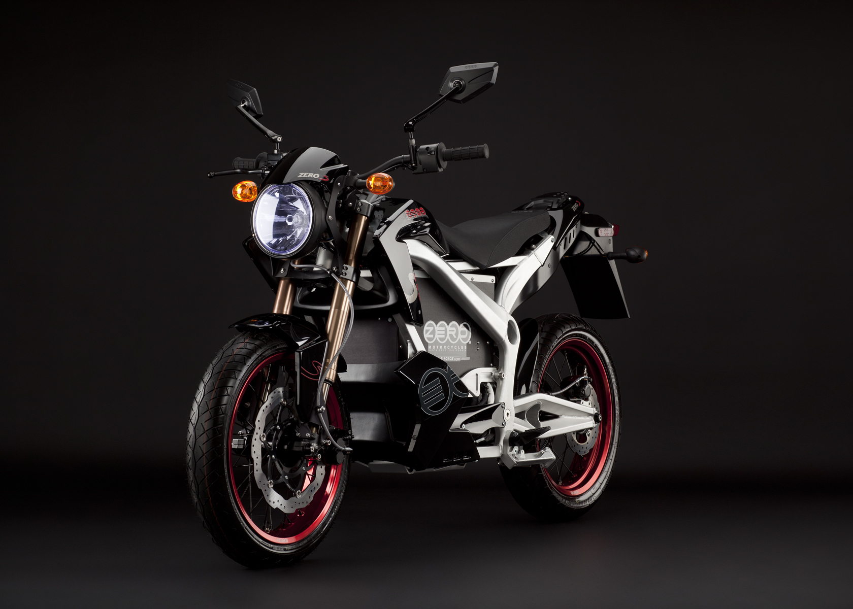 2011 Zero S Electric Motorcycle: Black Angle Left