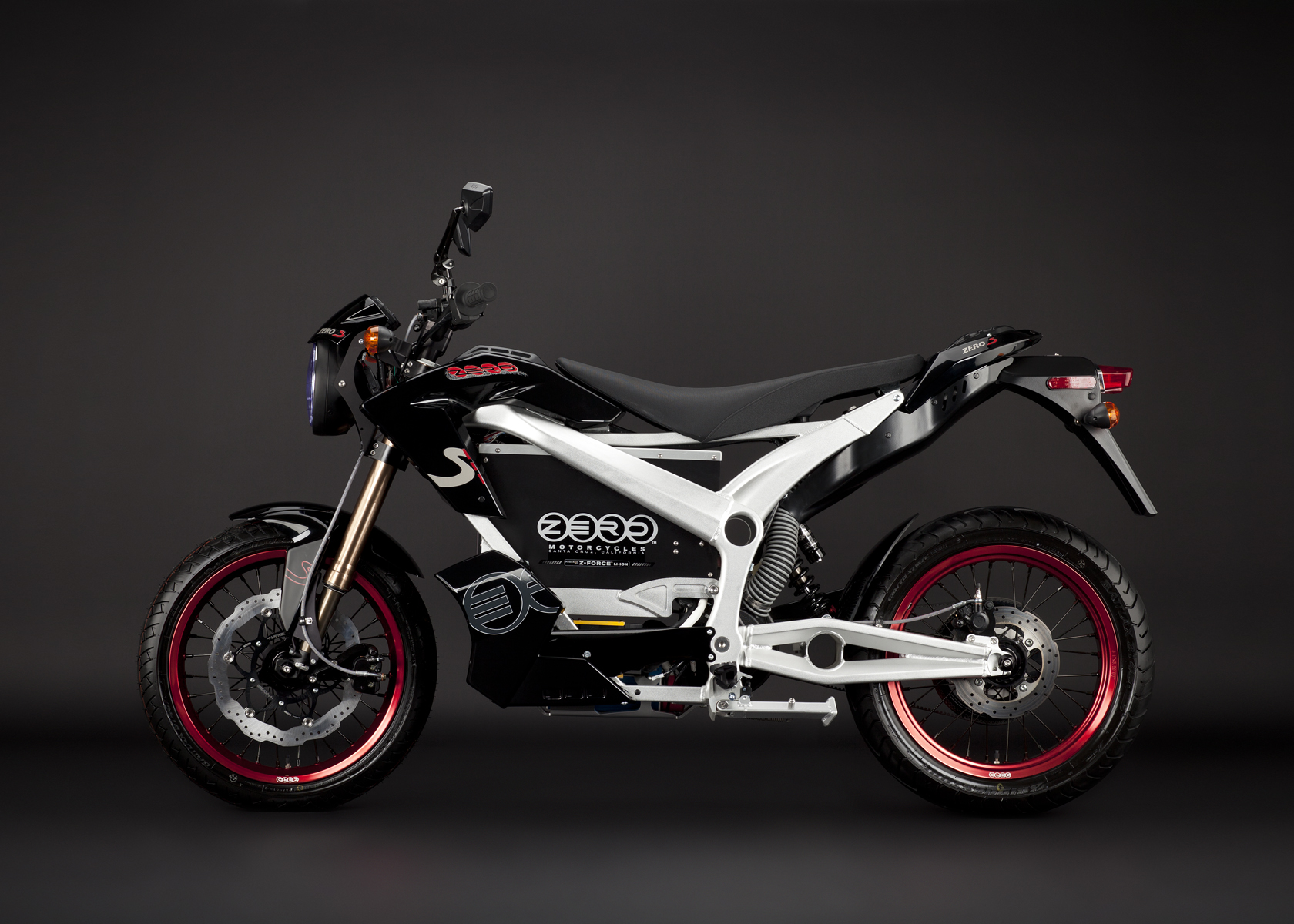 '.2011 Zero S Electric Motorcycle: Black Profile Left.'