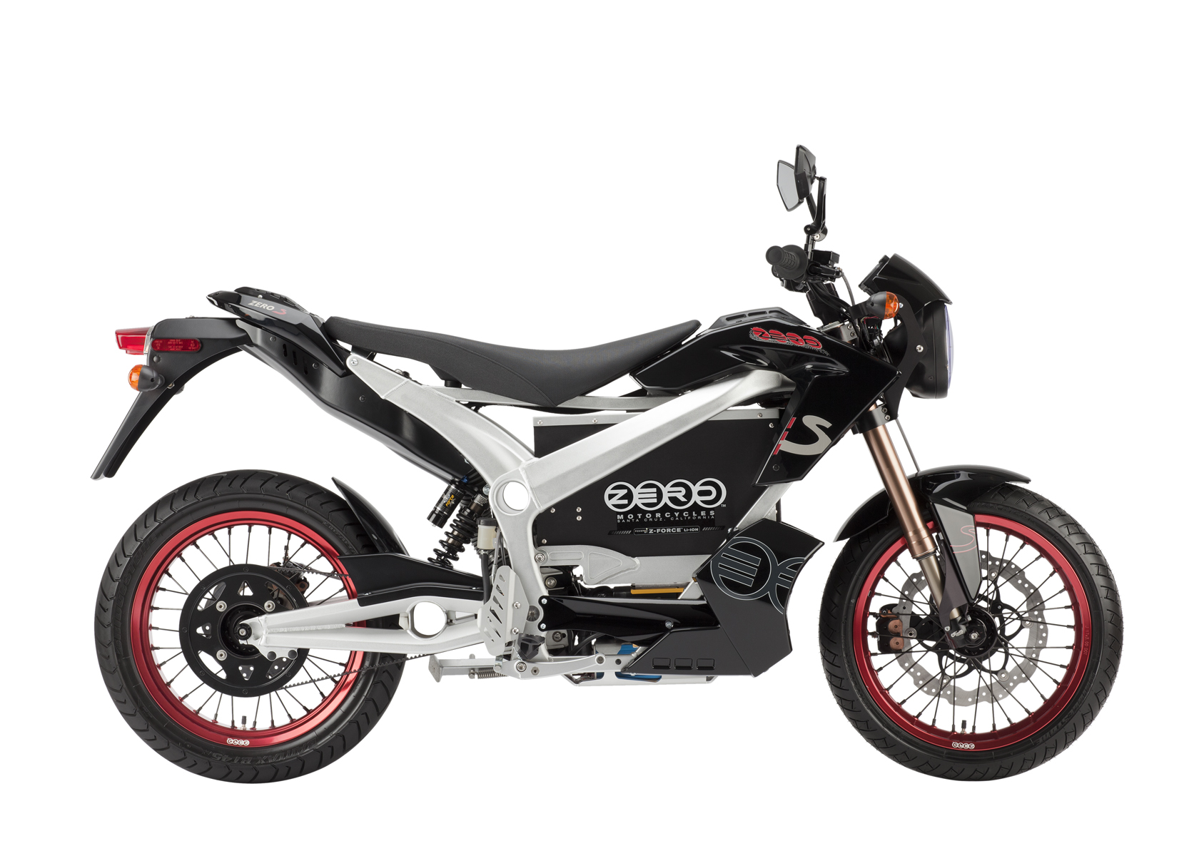 '.2011 Zero S Electric Motorcycle: Black Profile Right, White Background.'