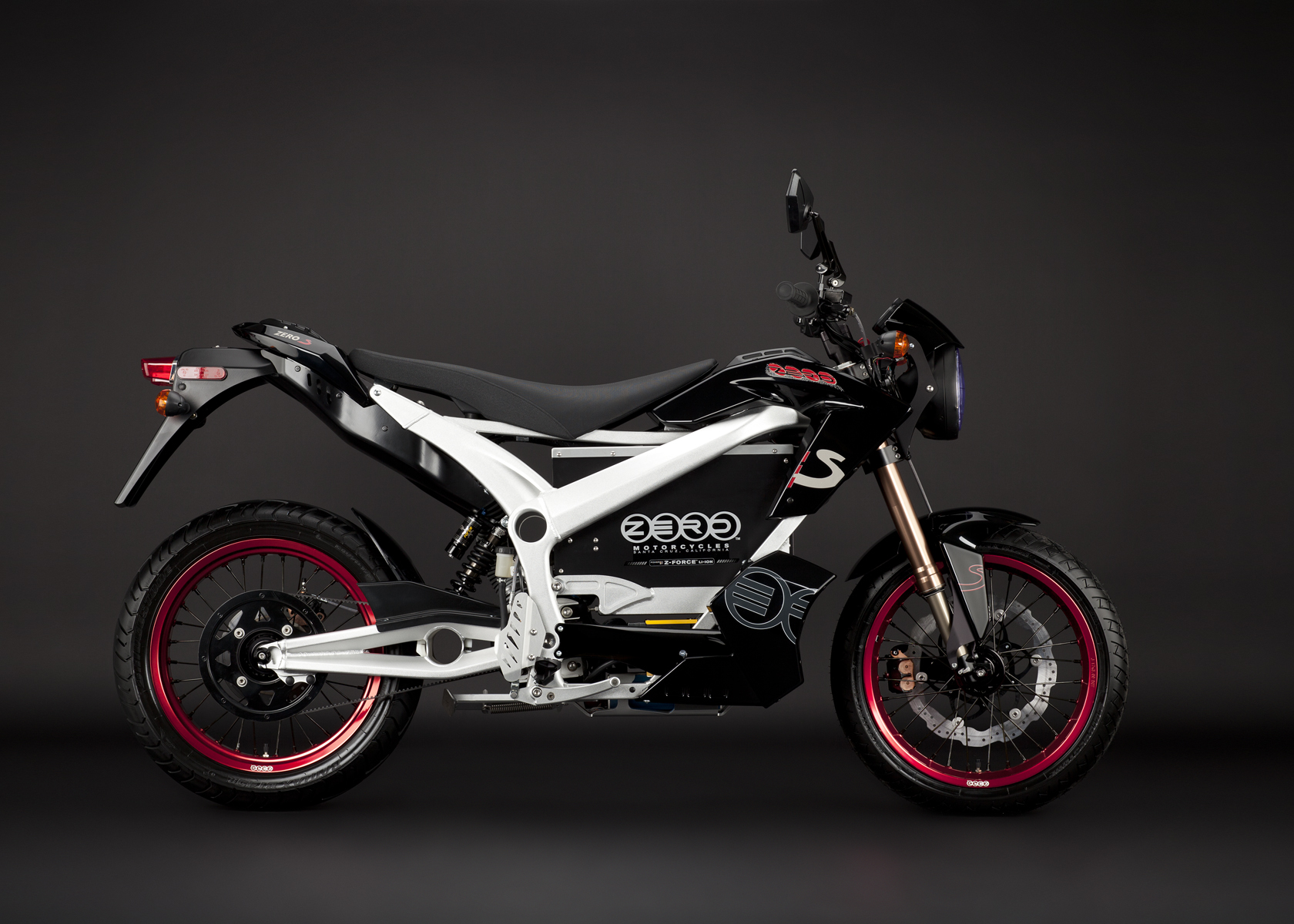 '.2011 Zero S Electric Motorcycle: Black Profile Right.'