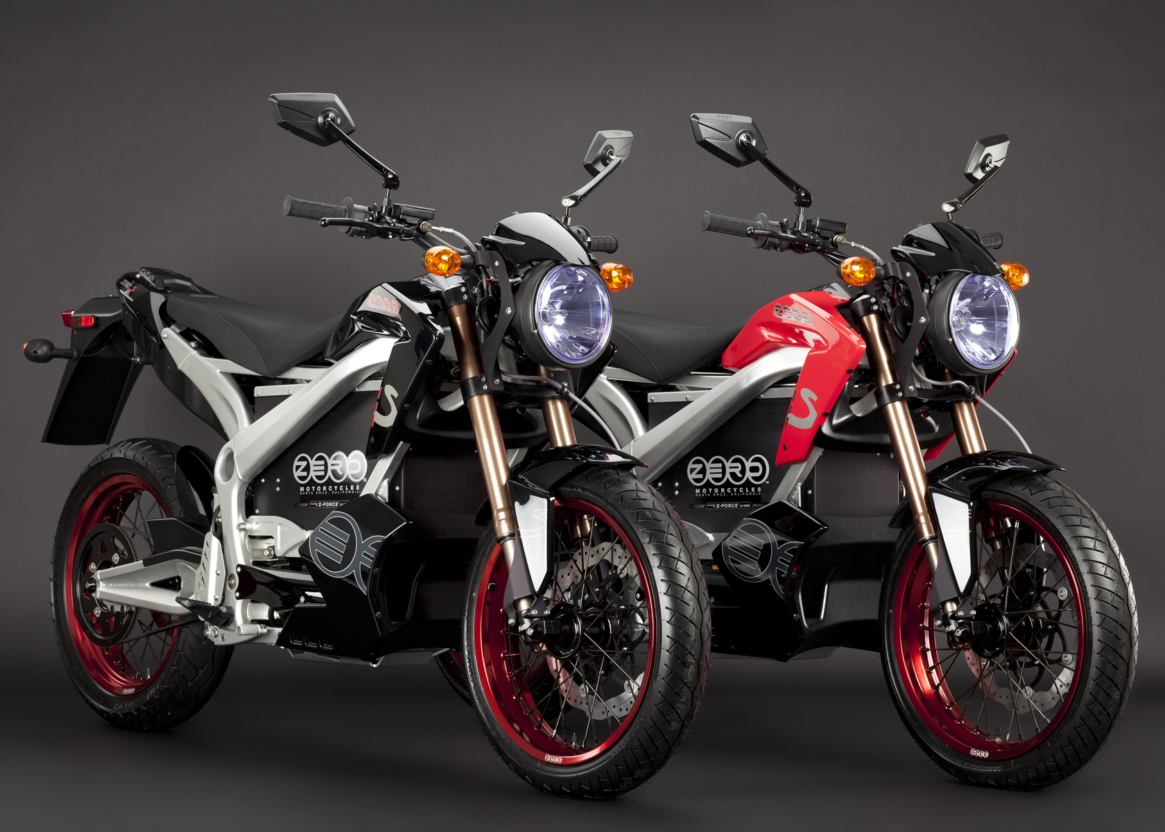 '.2011 Zero S Electric Motorcycle: Pair, Black and Red.'