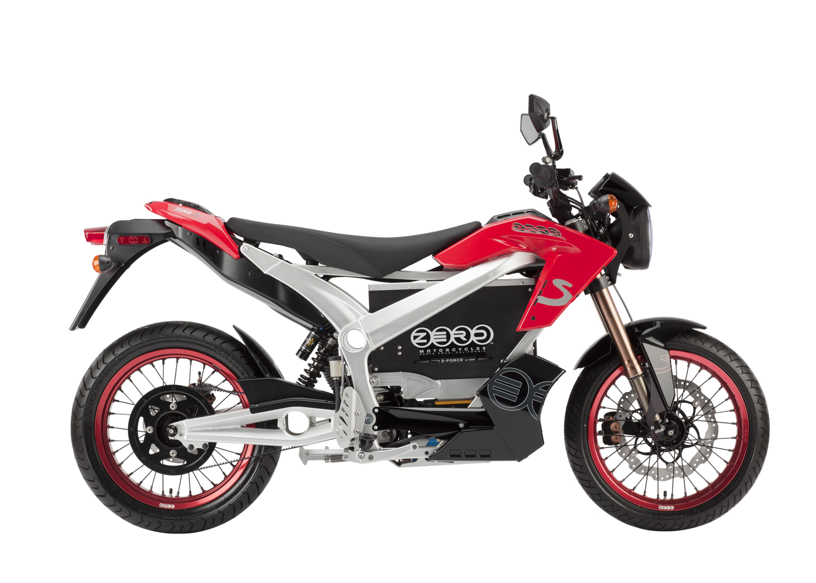 '.2011 Zero S Electric Motorcycle: Red Profile Right, White Background.'