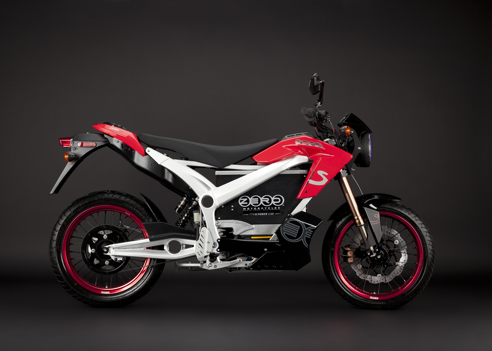 '.2011 Zero S Electric Motorcycle: Red Profile Right.'