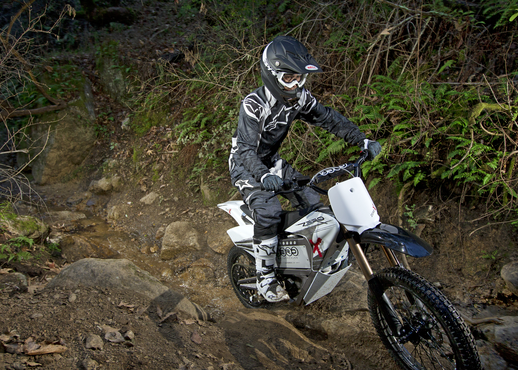 '.2011 Zero X Electric Motorcycle: Cruising up a Rocky Path.'