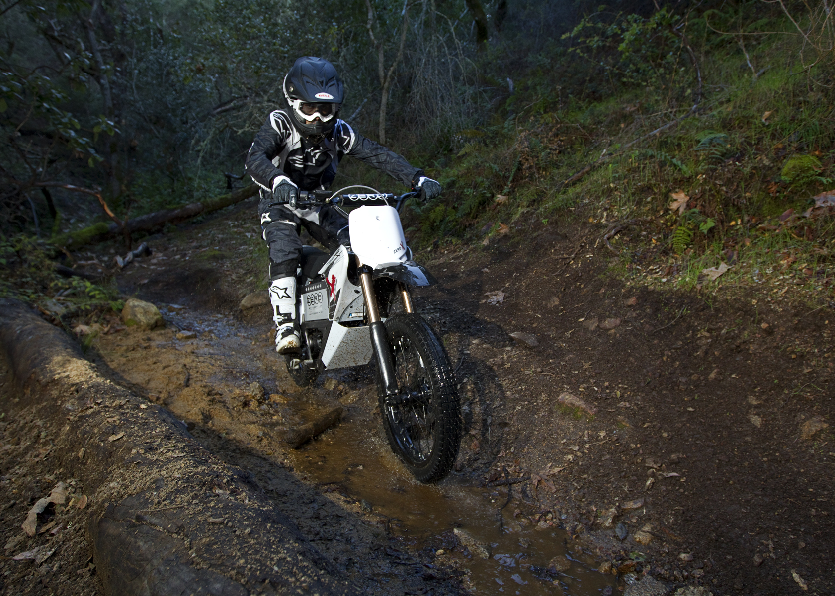 '.2011 Zero X Electric Motorcycle: Along a Rocky Stream.'