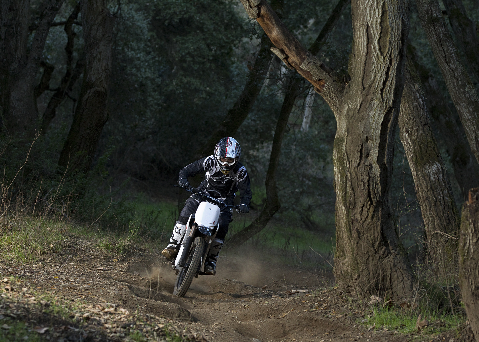 '.2011 Zero X Electric Motorcycle: Charging Up a Wooded Trail.'