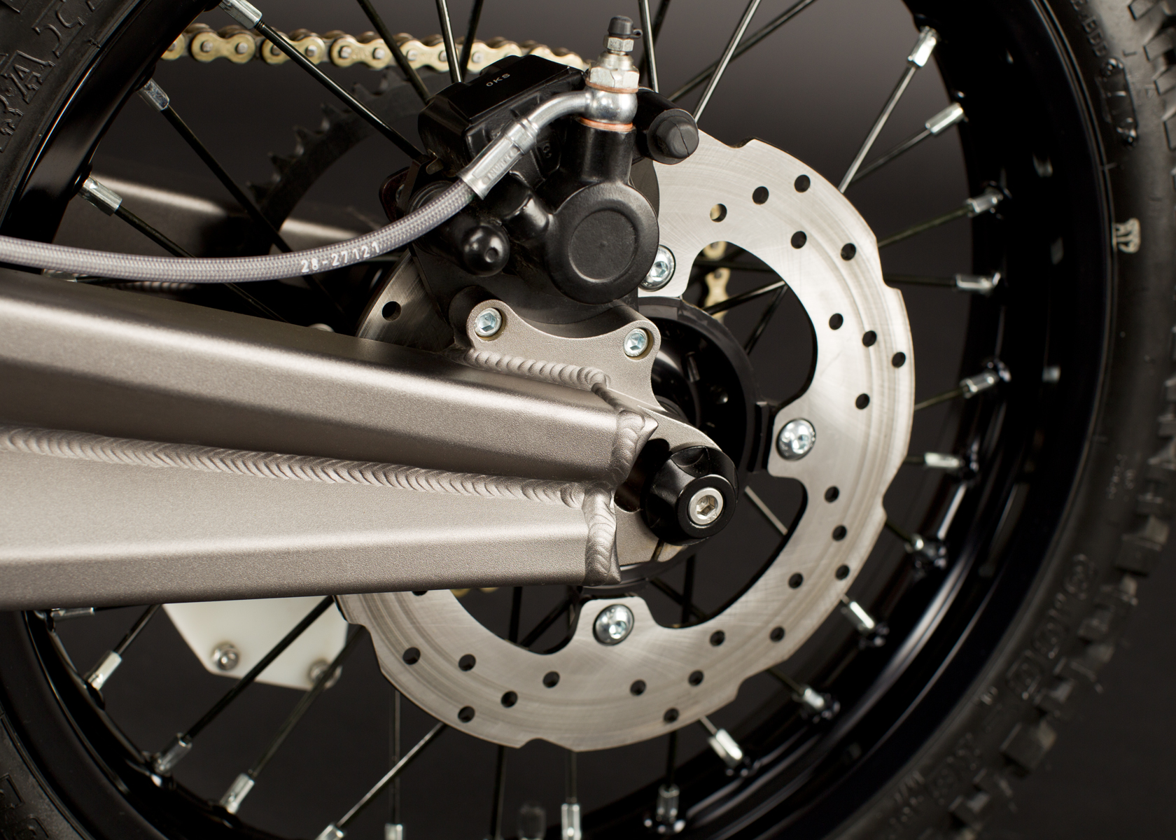 '.2011 Zero X Electric Motorcycle: Back Brake.'