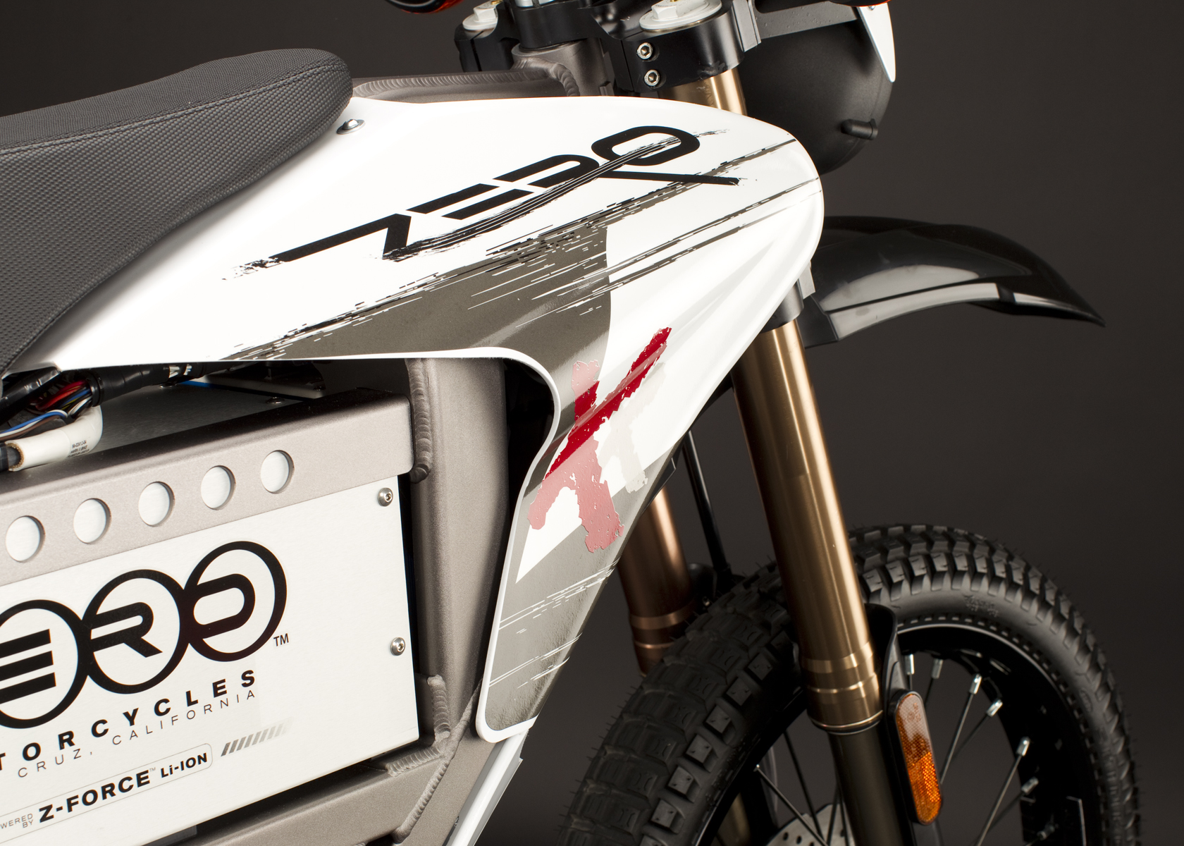 '.2011 Zero X Electric Motorcycle: Front Fork.'