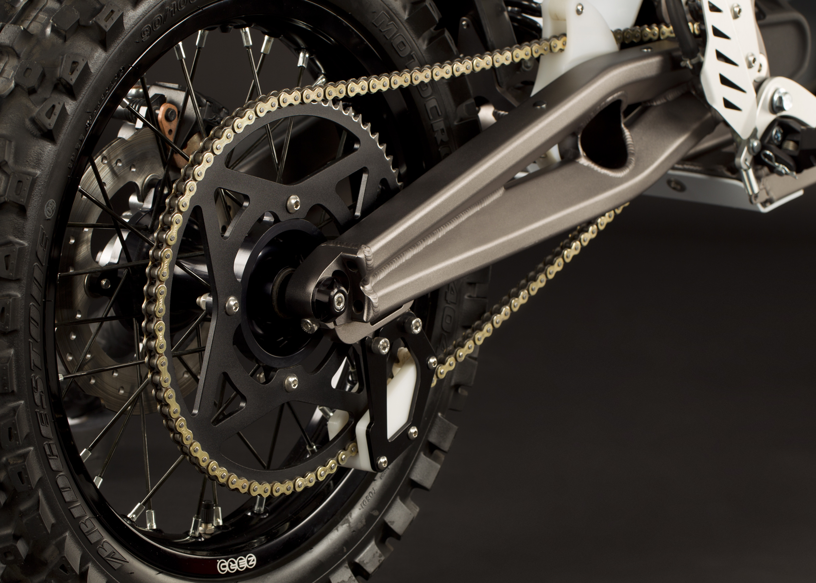 '.2011 Zero X Electric Motorcycle: Rear tire / Rear shock / Swingarm.'