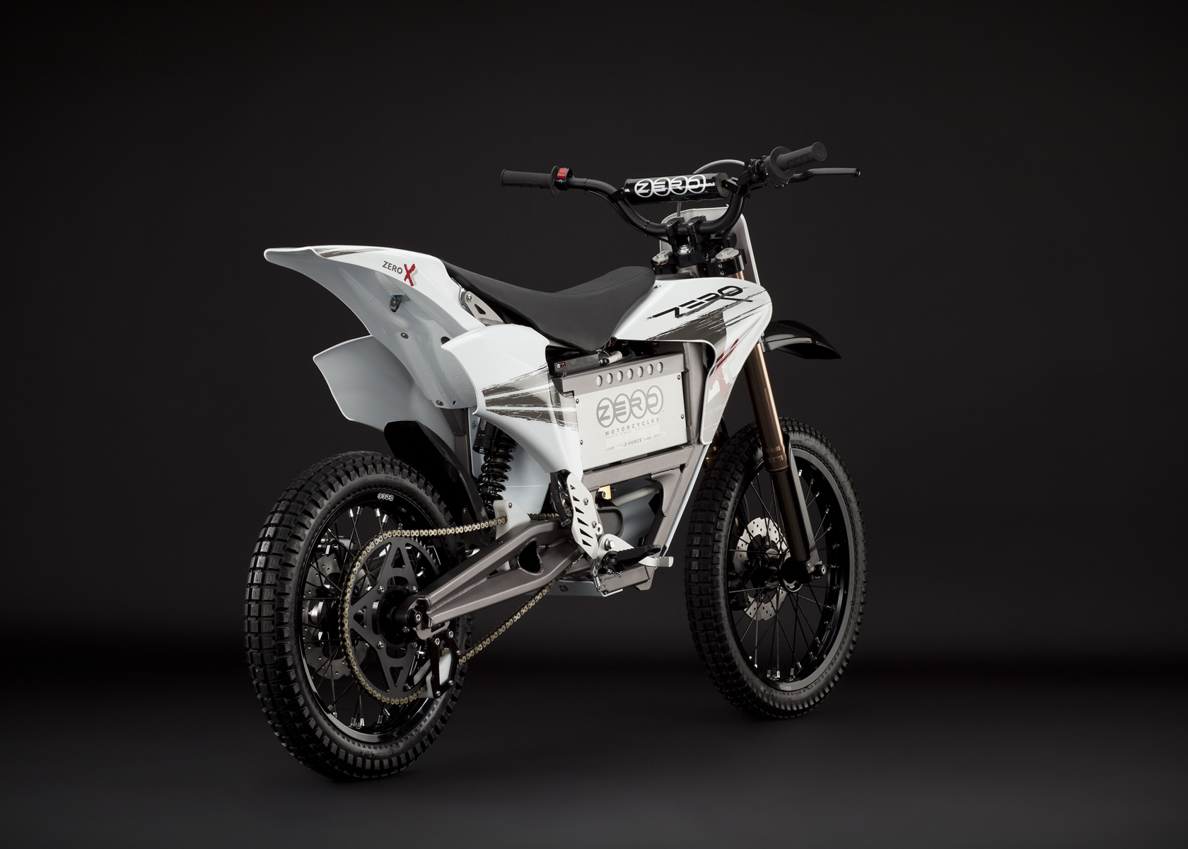 '.2011 Zero X Electric Motorcycle: Rear View, Dirt Model.'