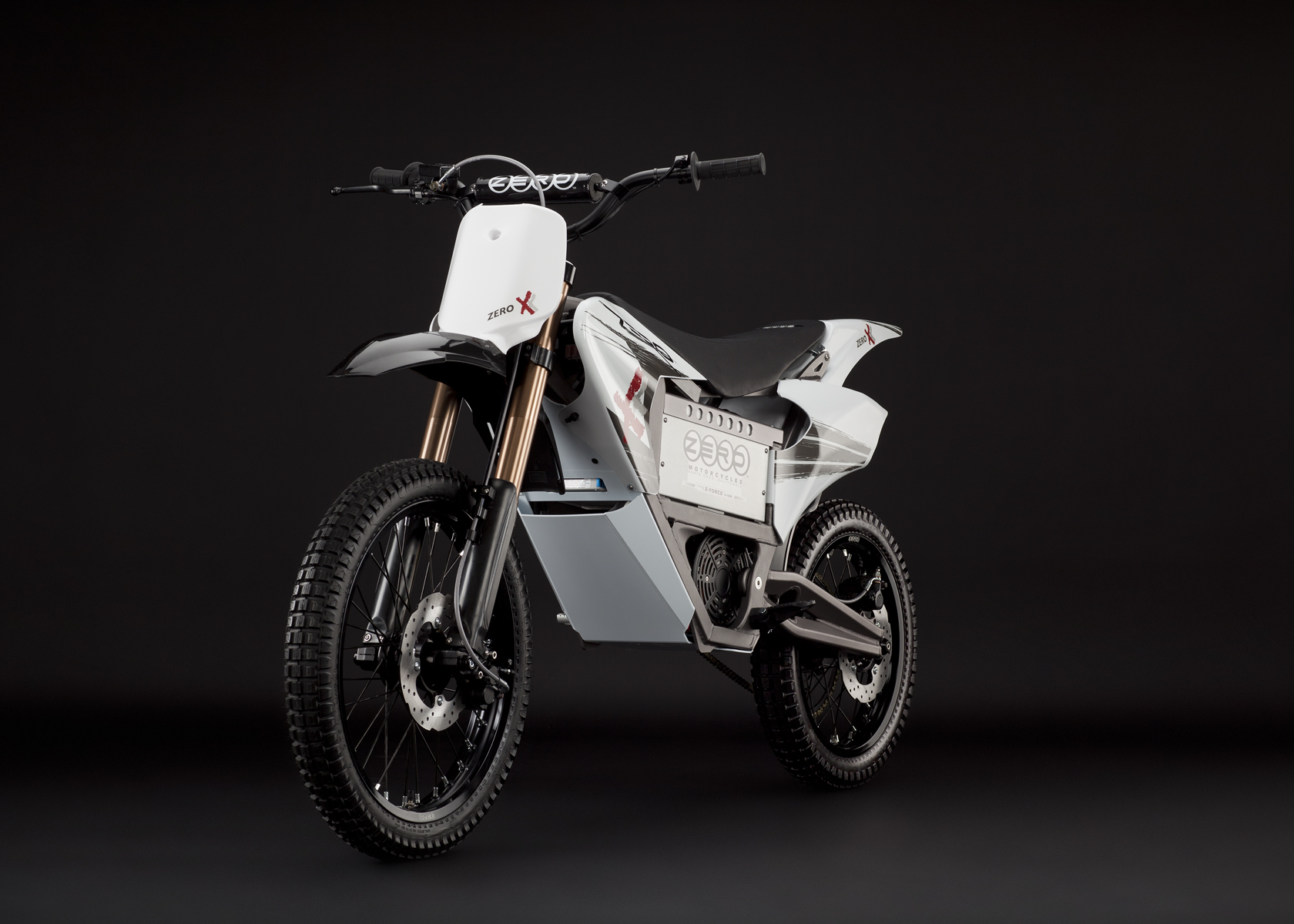 '.2011 Zero X Electric Motorcycle: Angle Left, Dirt Model.'