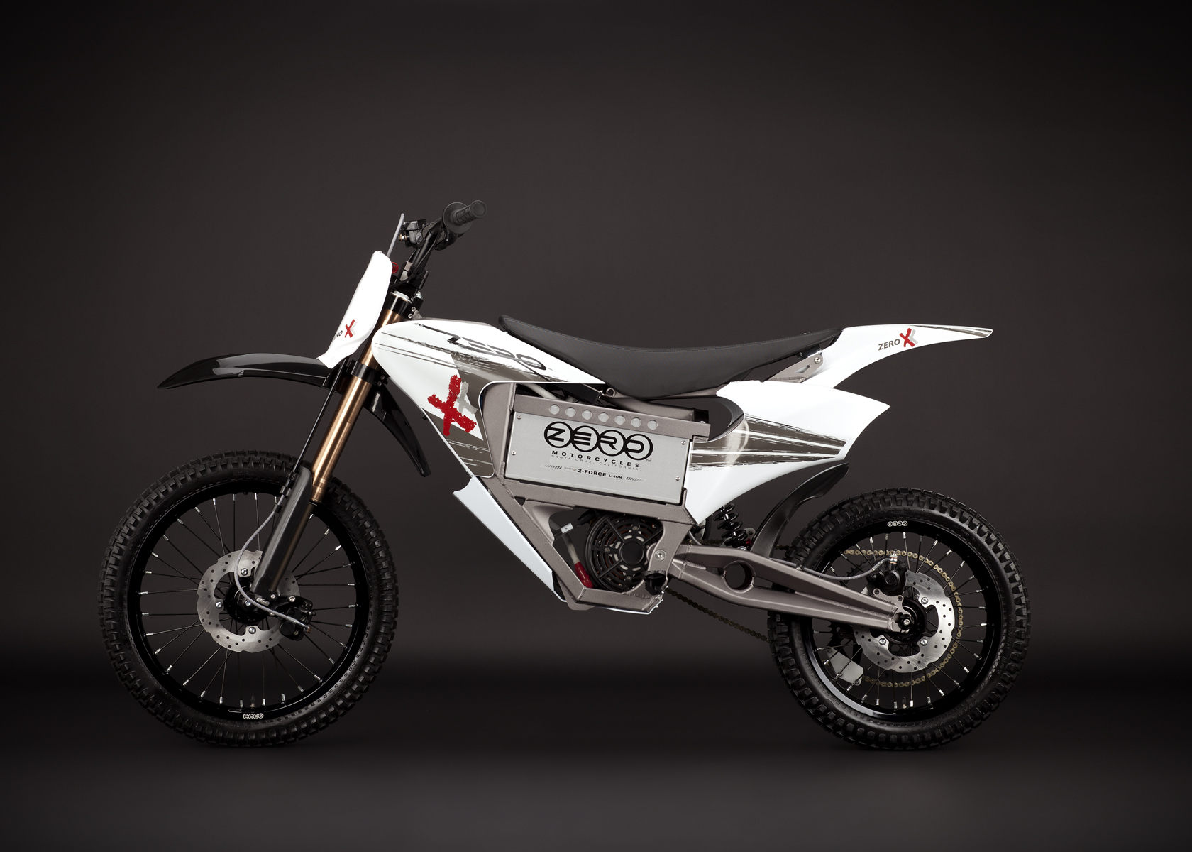 '.2011 Zero X Electric Motorcycle: Profile Left, Dirt Model.'