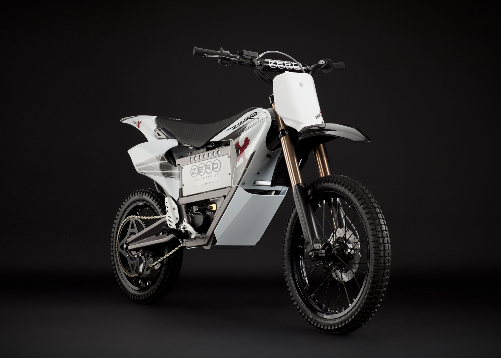 '.2011 Zero X Electric Motorcycle: Angle Right, Dirt Model.'