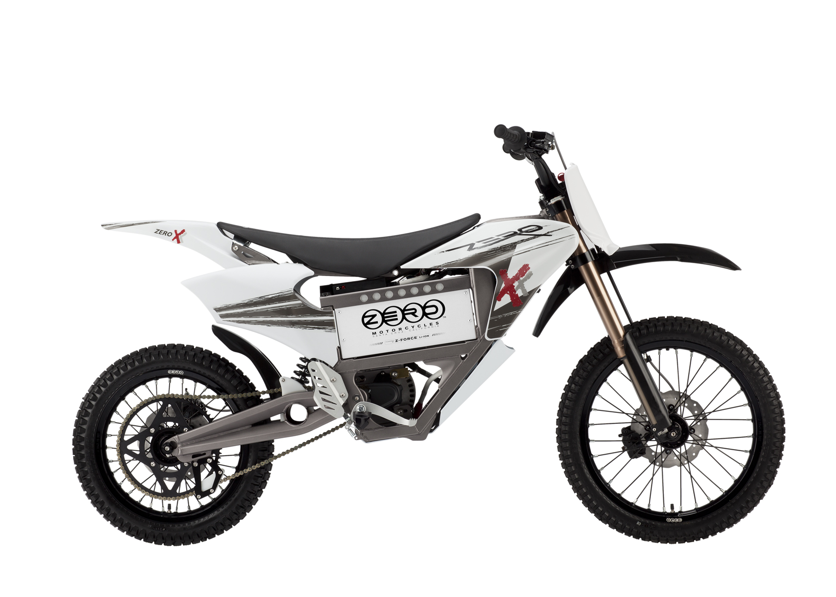 '.2011 Zero X Electric Motorcycle: Profile Right, Dirt Model, White Background.'