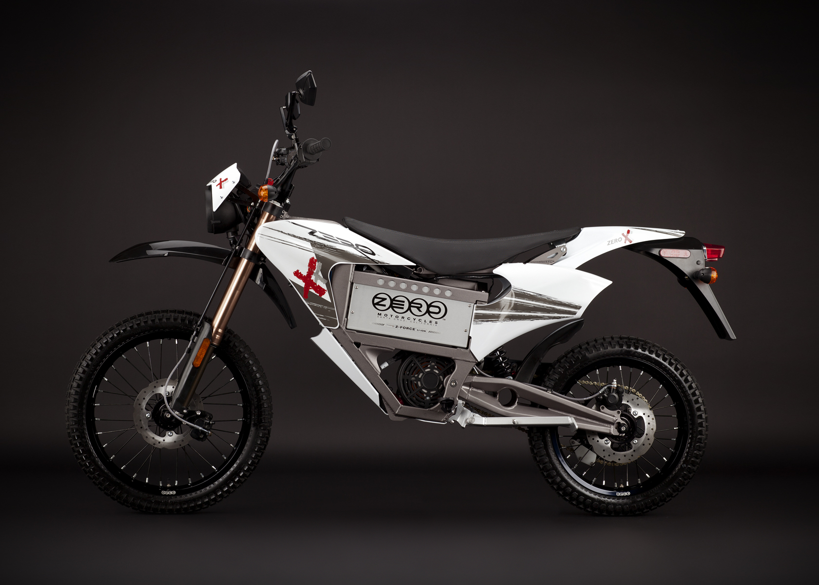 '.2011 Zero X Electric Motorcycle: Profile Left, Street Legal Model.'