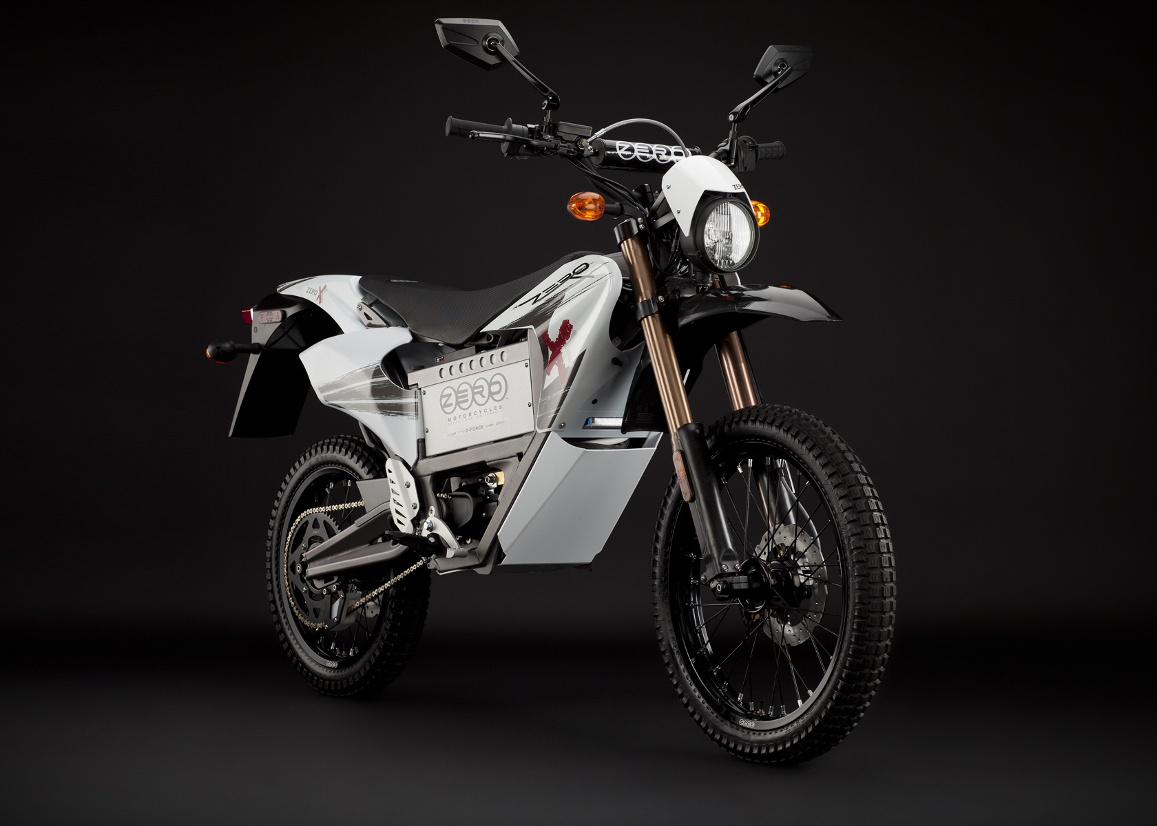 '.2011 Zero X Electric Motorcycle: Angle Right, Street Legal Model.'