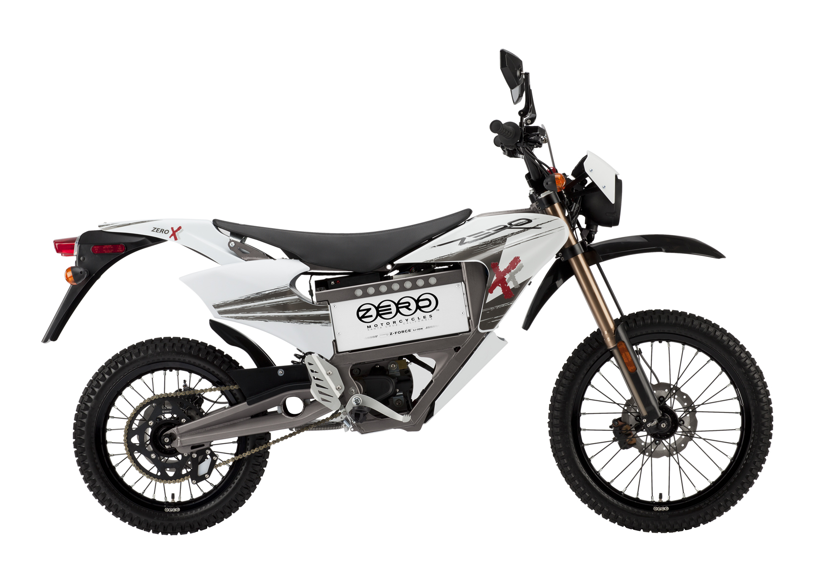 '.2011 Zero X Electric Motorcycle: Profile Right, Street Legal Model, White Background.'