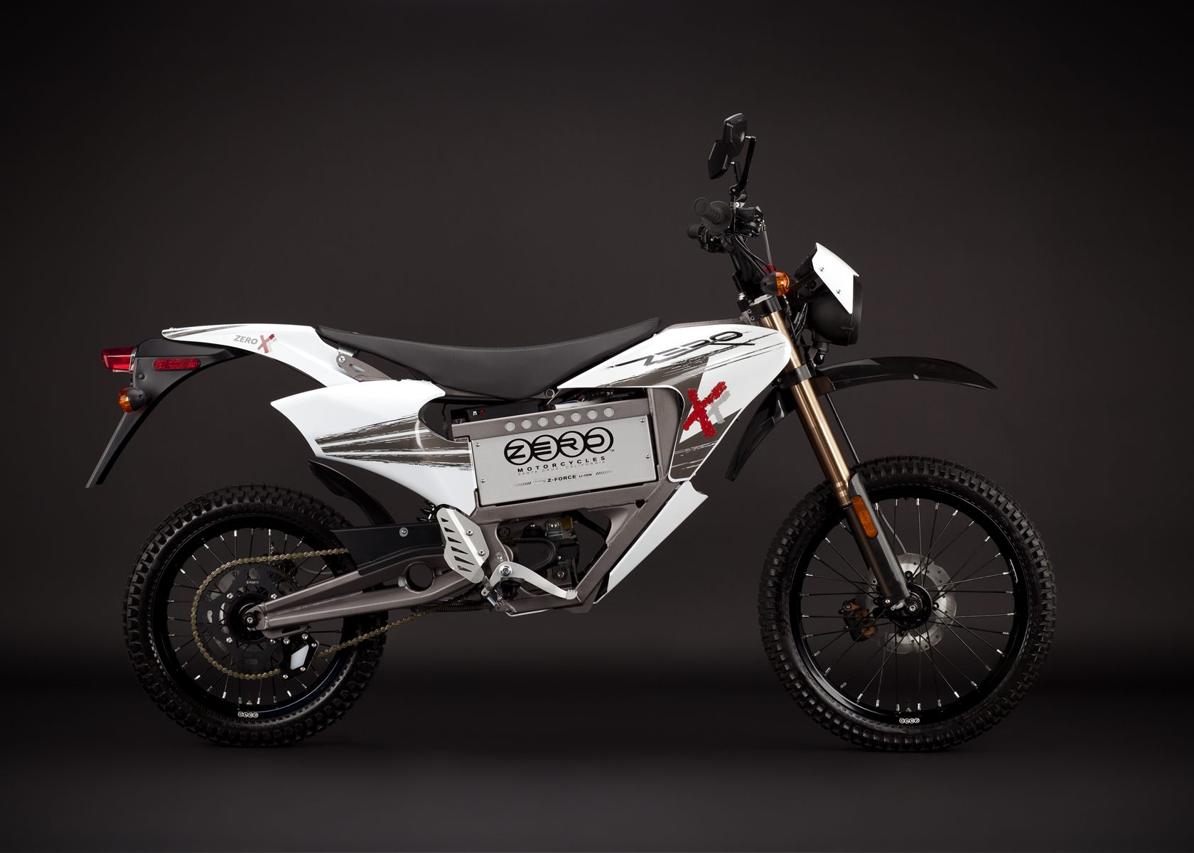 '.2011 Zero X Electric Motorcycle: Profile Right, Street Legal Model.'