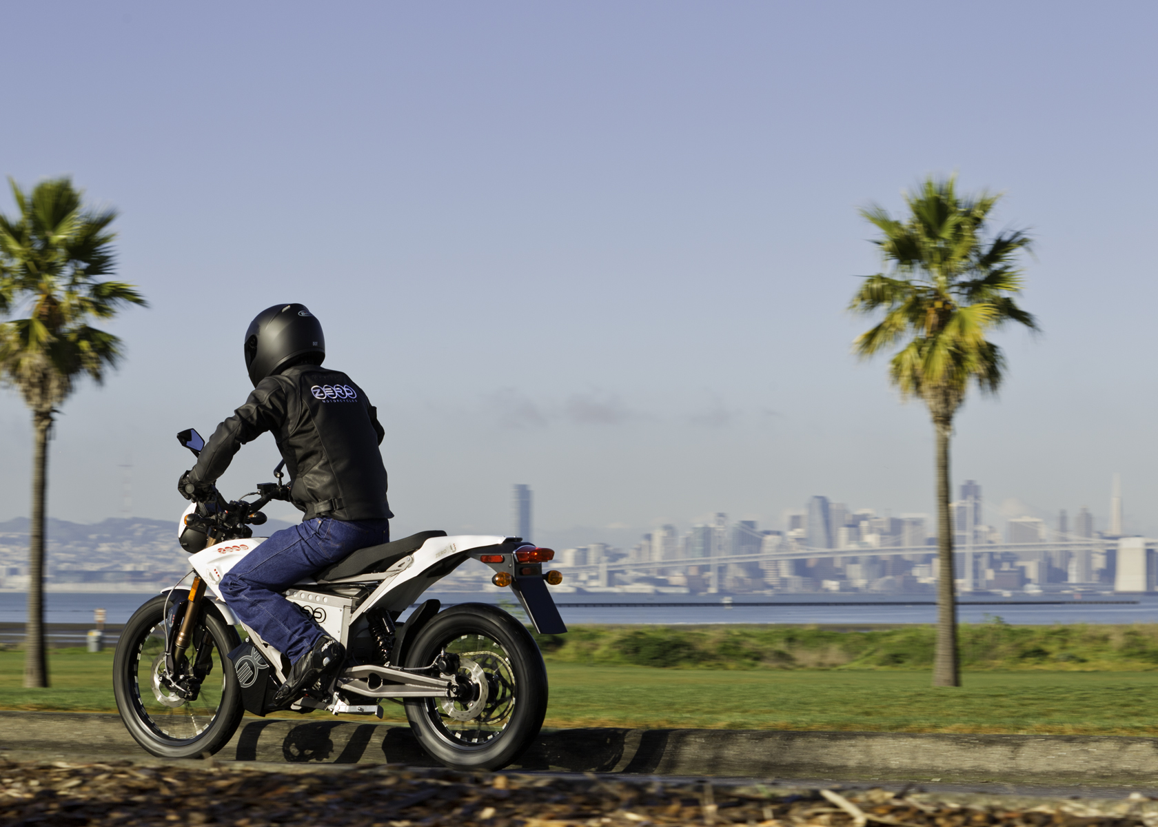 '.2011 Zero XU Electric Motorcycle: Along the Waterfront.'