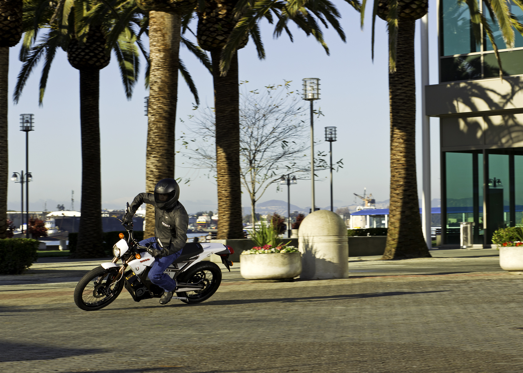 '.2011 Zero XU Electric Motorcycle: Lean Left, View of Palm Trees.'