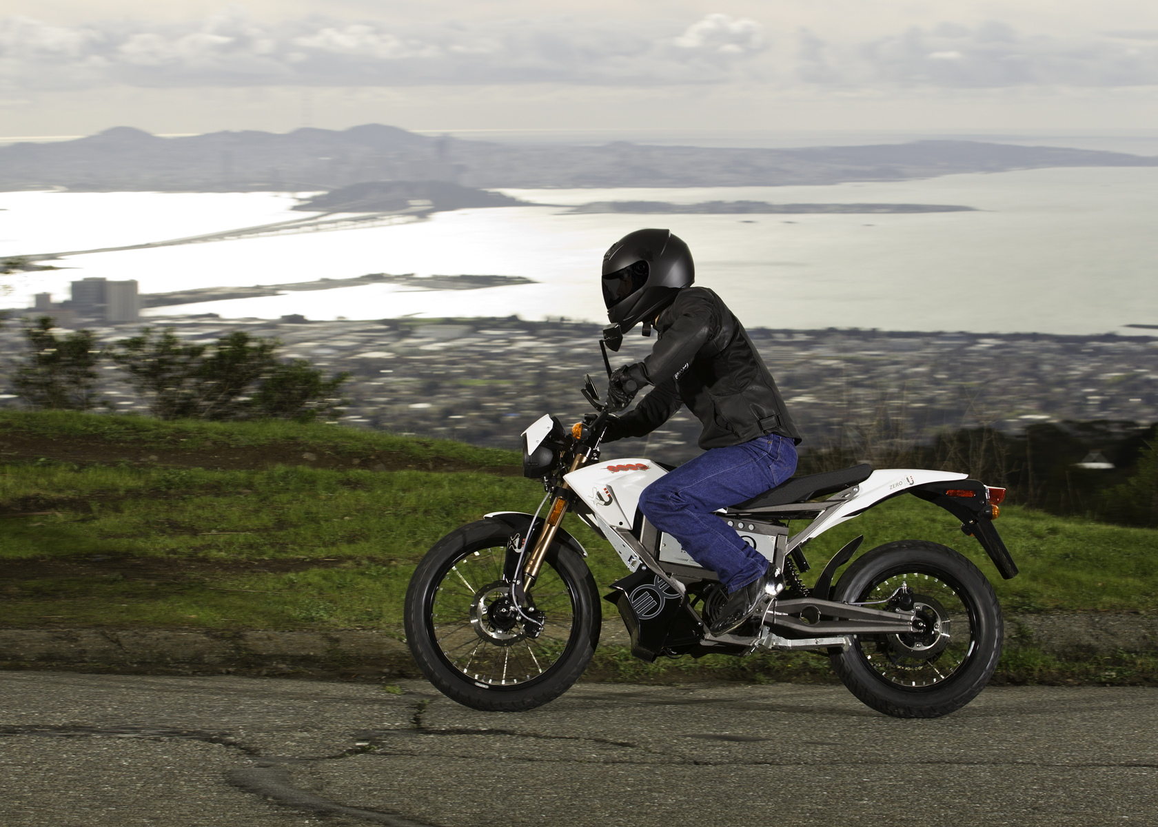 '.2011 Zero XU Electric Motorcycle: View of the Bay.'