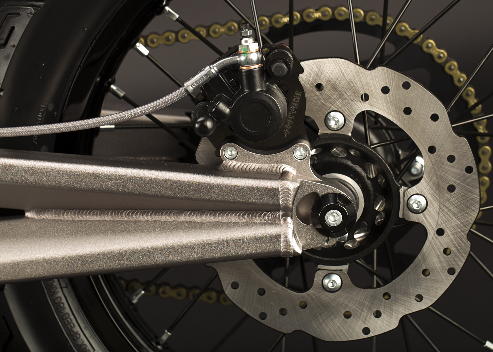 '.2011 Zero XU Electric Motorcycle: Back Brake.'