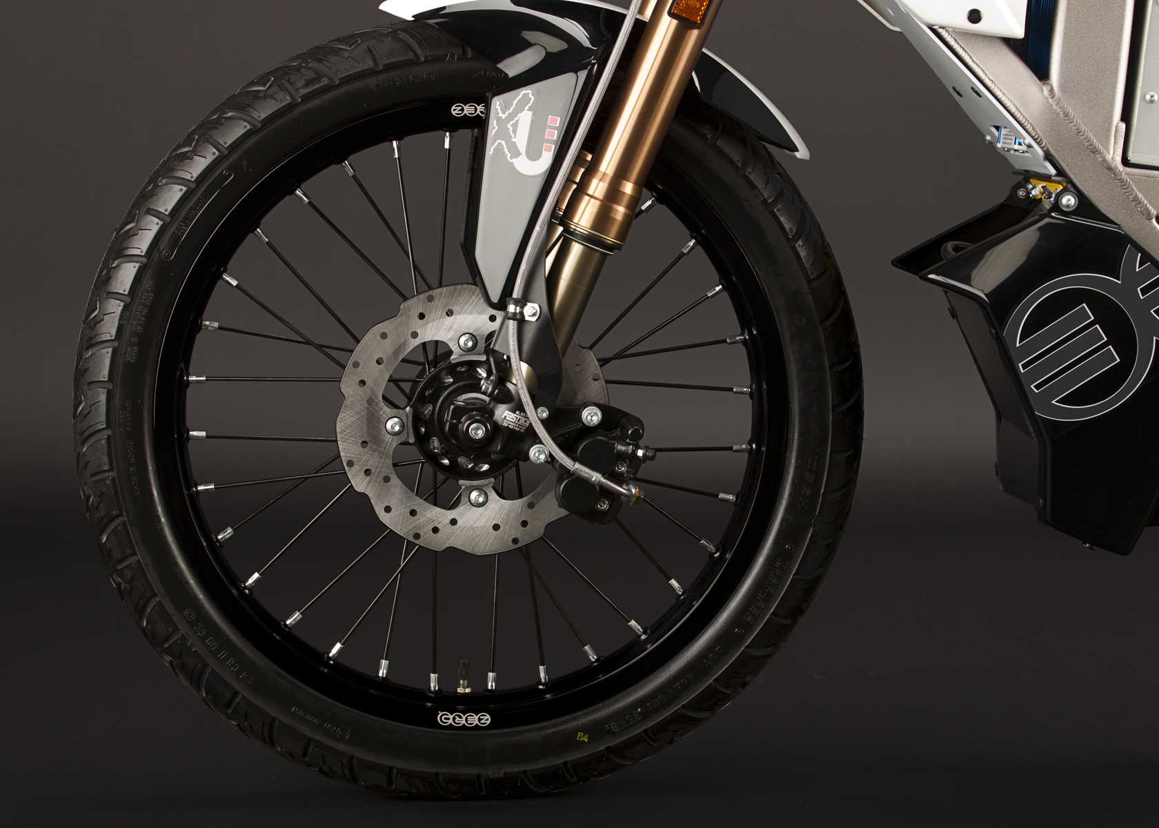 '.2011 Zero XU Electric Motorcycle: Front Tire.'