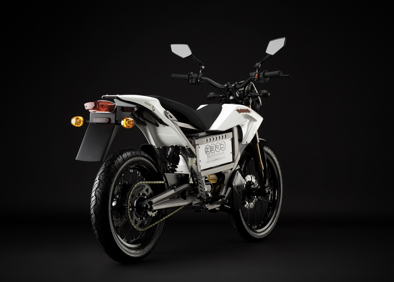 '.2011 Zero XU Electric Motorcycle: Angle Right, Rear View.'