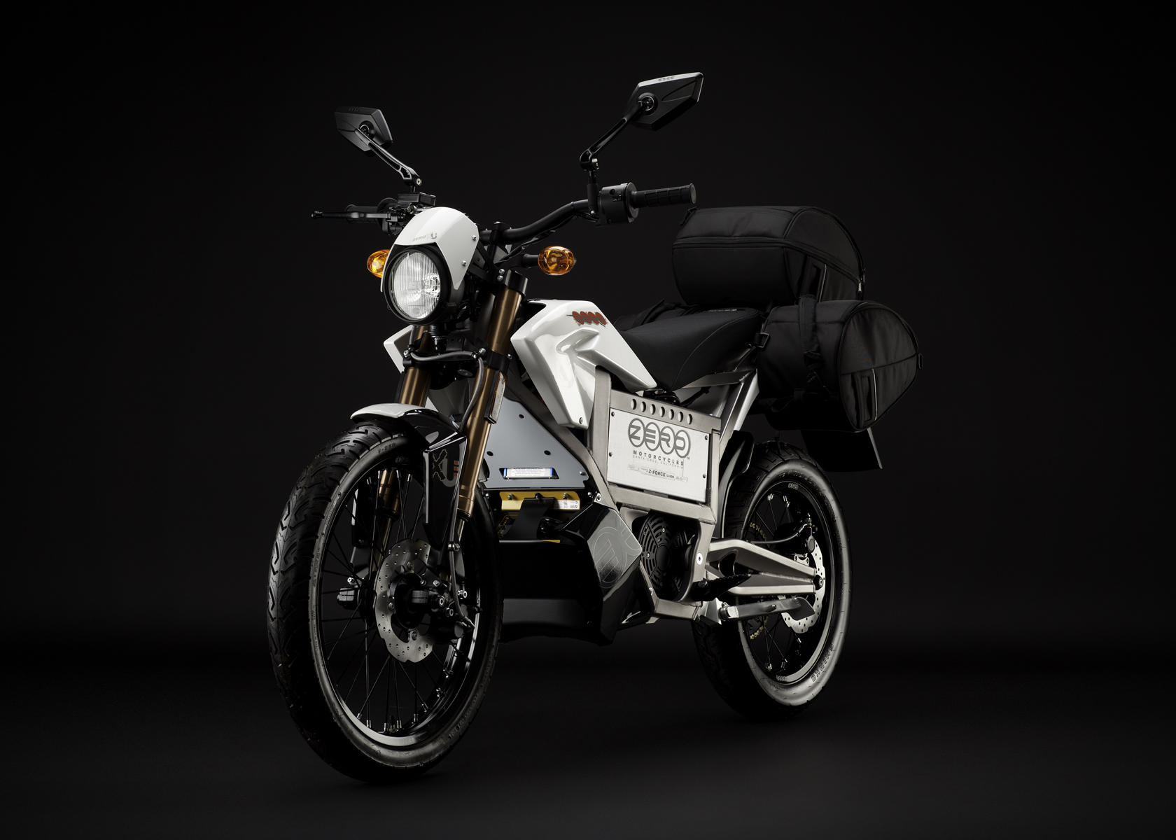 '.2011 Zero XU Electric Motorcycle: Angle Left, with Side Bags.'