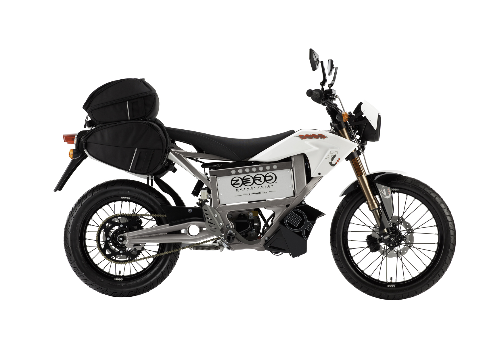 '.2011 Zero XU Electric Motorcycle: Profile Right, with Side Bags, White Background.'