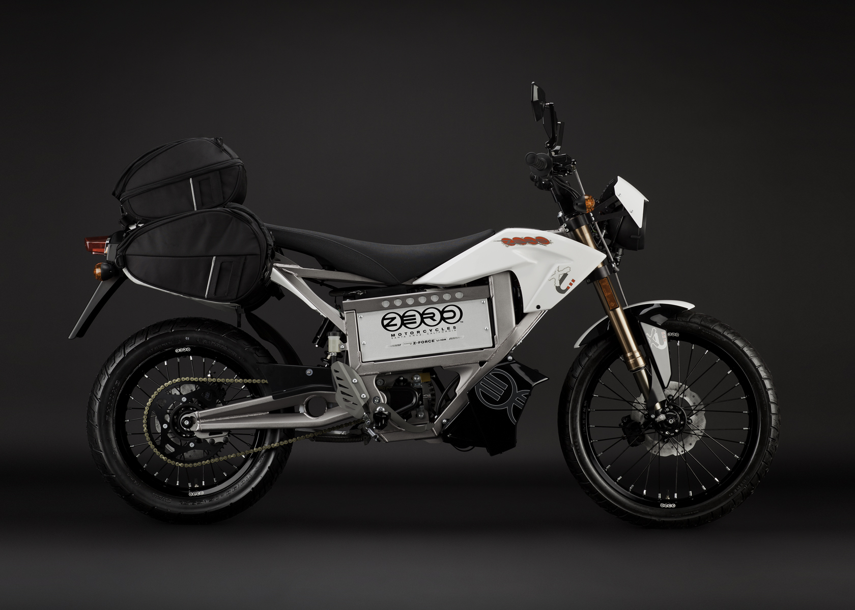 '.2011 Zero XU Electric Motorcycle: Profile Right, with Side Bags.'
