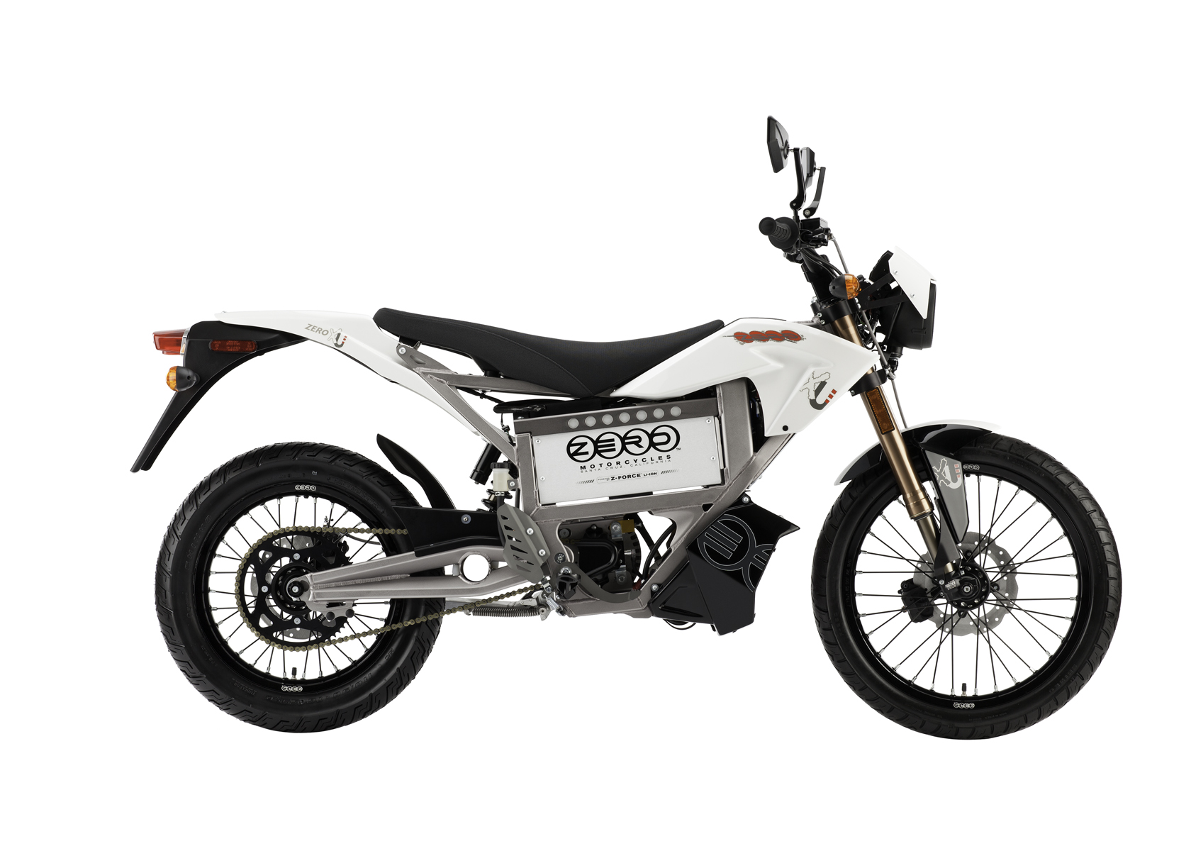 '.2011 Zero XU Electric Motorcycle: Profile Right, White Background.'