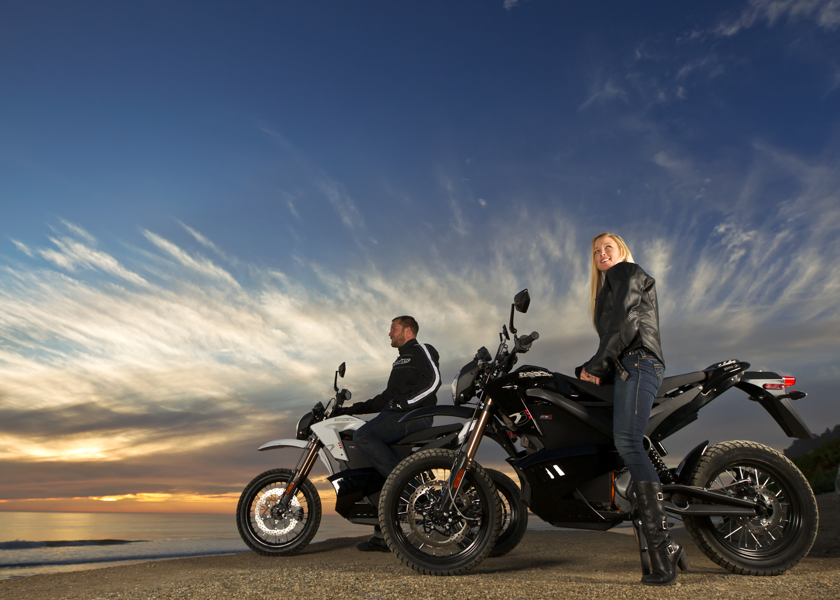 '.2012 Zero DS Electric Motorcycle: Ocean at Sunset.'
