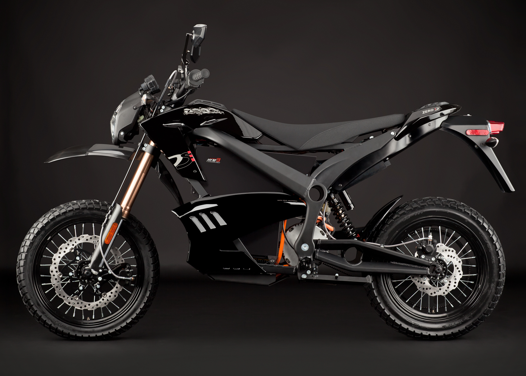 '.2012 Zero DS Electric Motorcycle: Black Profile Left.'