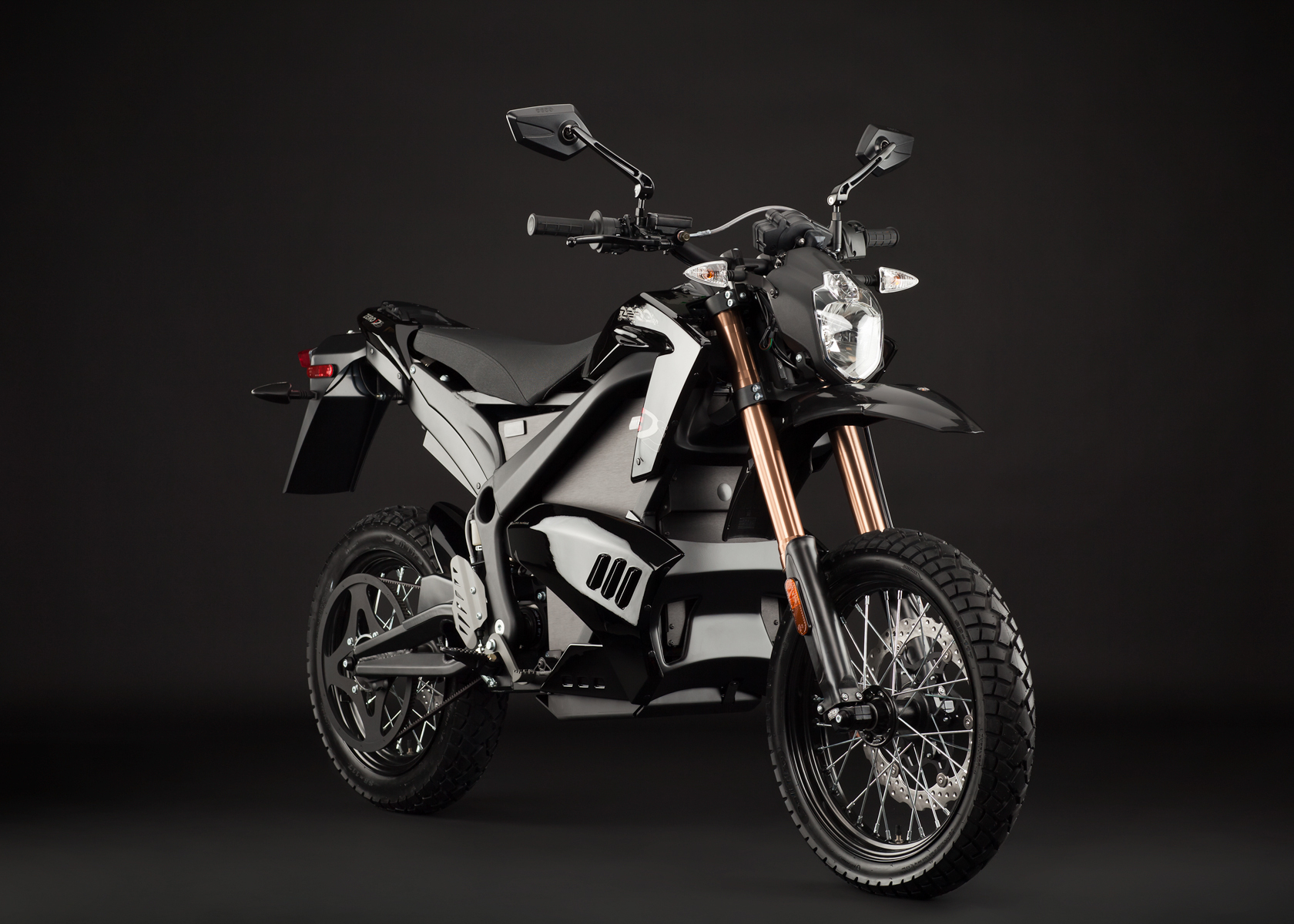 '.2012 Zero DS Electric Motorcycle: Black Angle Right.'