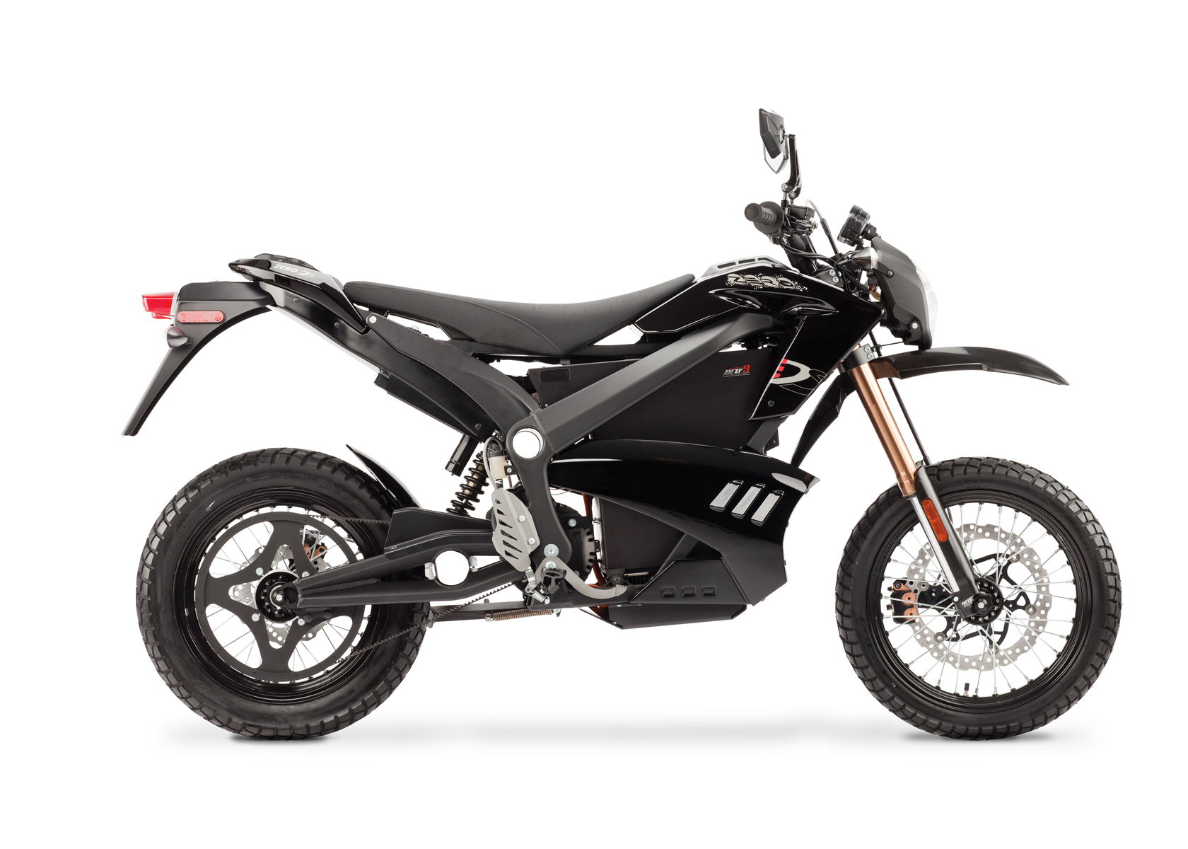 '.2012 Zero DS Electric Motorcycle: Black Profile Right, White Background.'