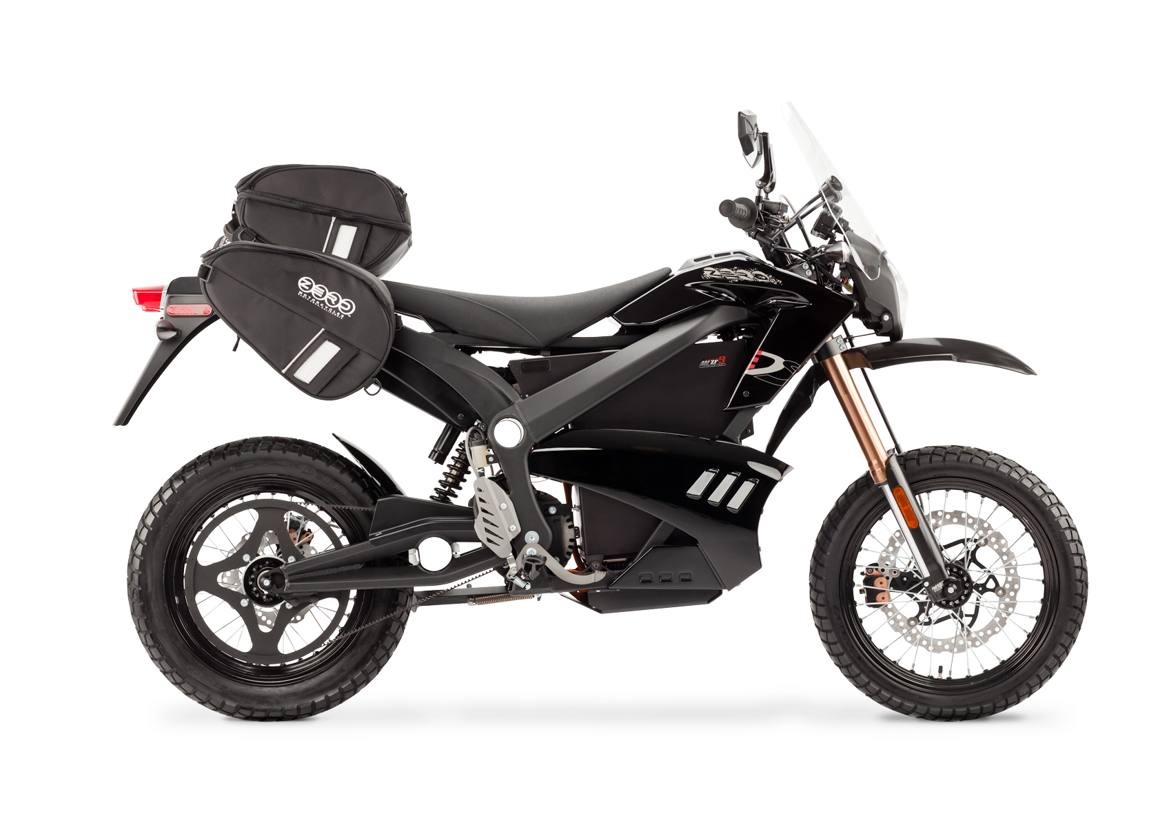 '.2012 Zero DS Electric Motorcycle: Black Profile Right with Side Bags and Windscreen, White Background.'