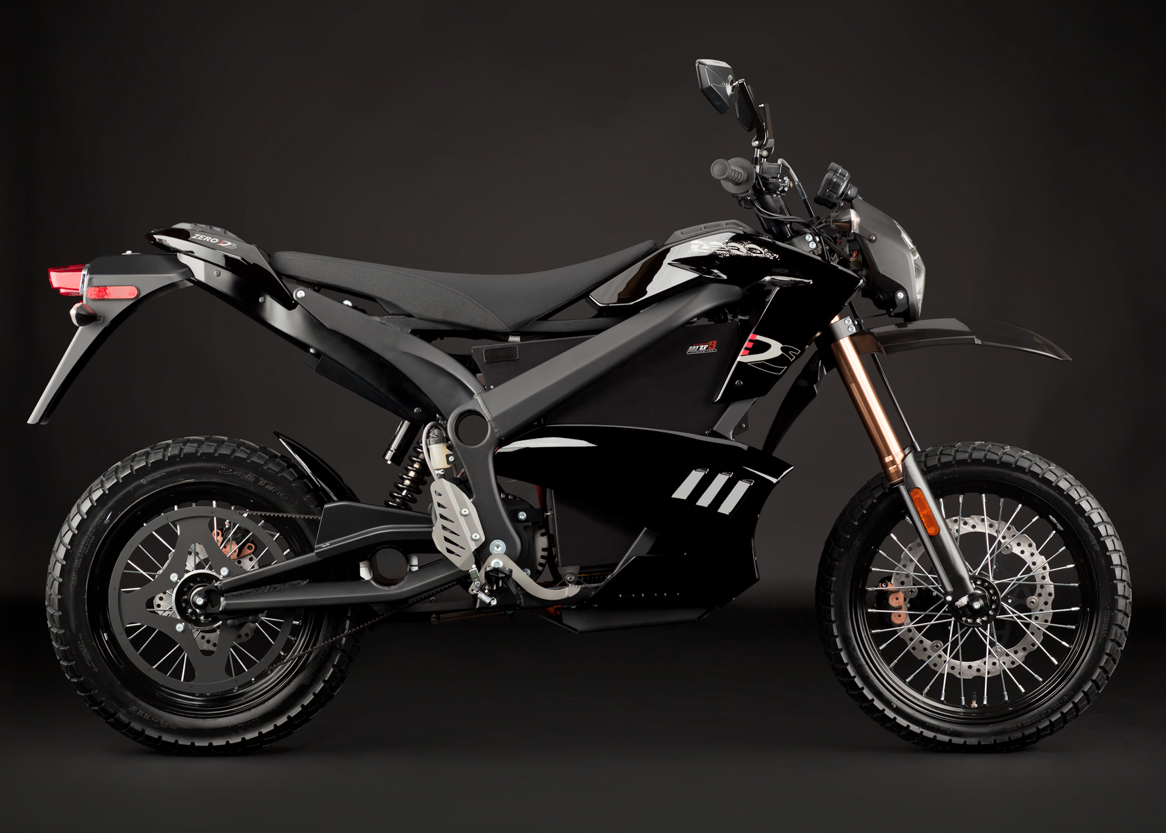 '.2012 Zero DS Electric Motorcycle: Black Profile Right.'