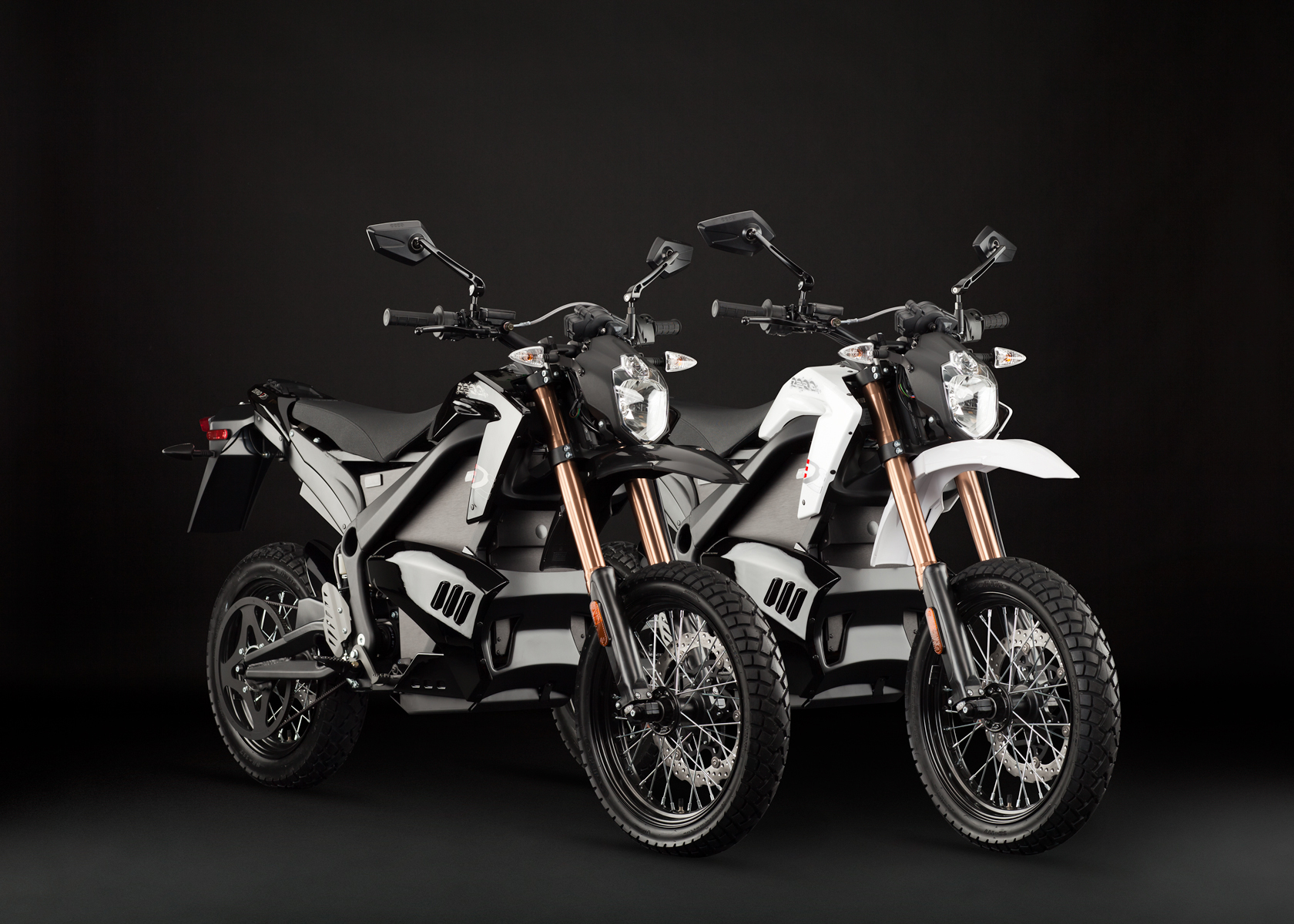 '.2012 Zero DS Electric Motorcycle: Pair, White and Black.'