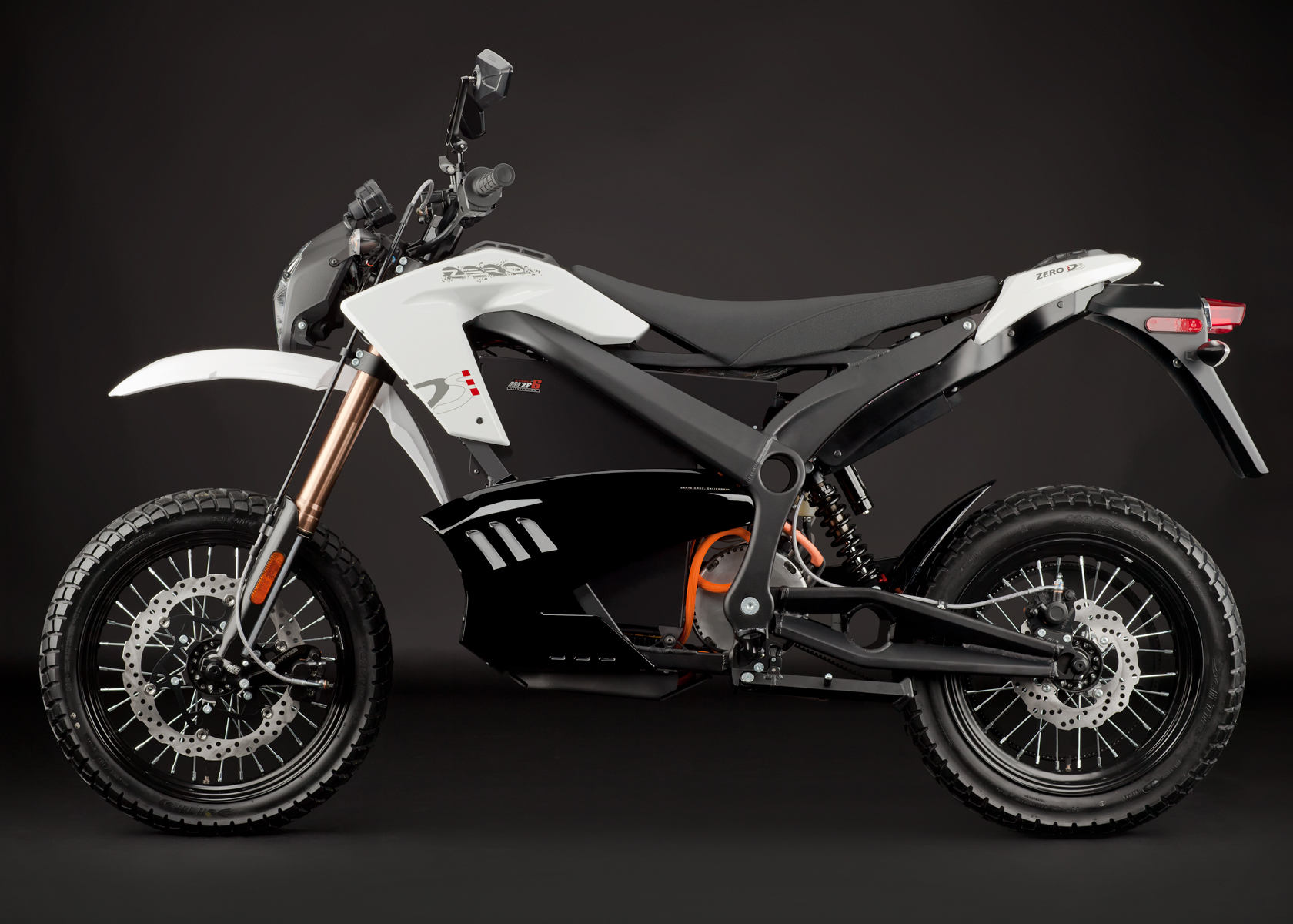 '.2012 Zero DS Electric Motorcycle: White Profile Left.'